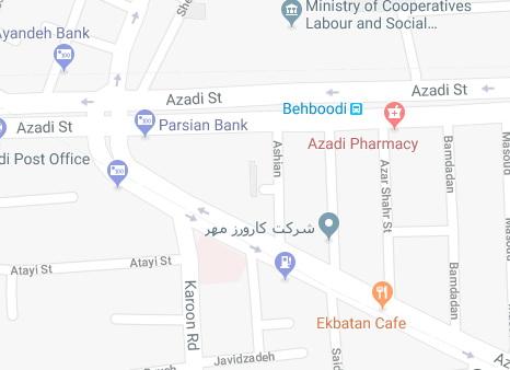 نقشه آدرس کارورزمهر در گوگل مپس